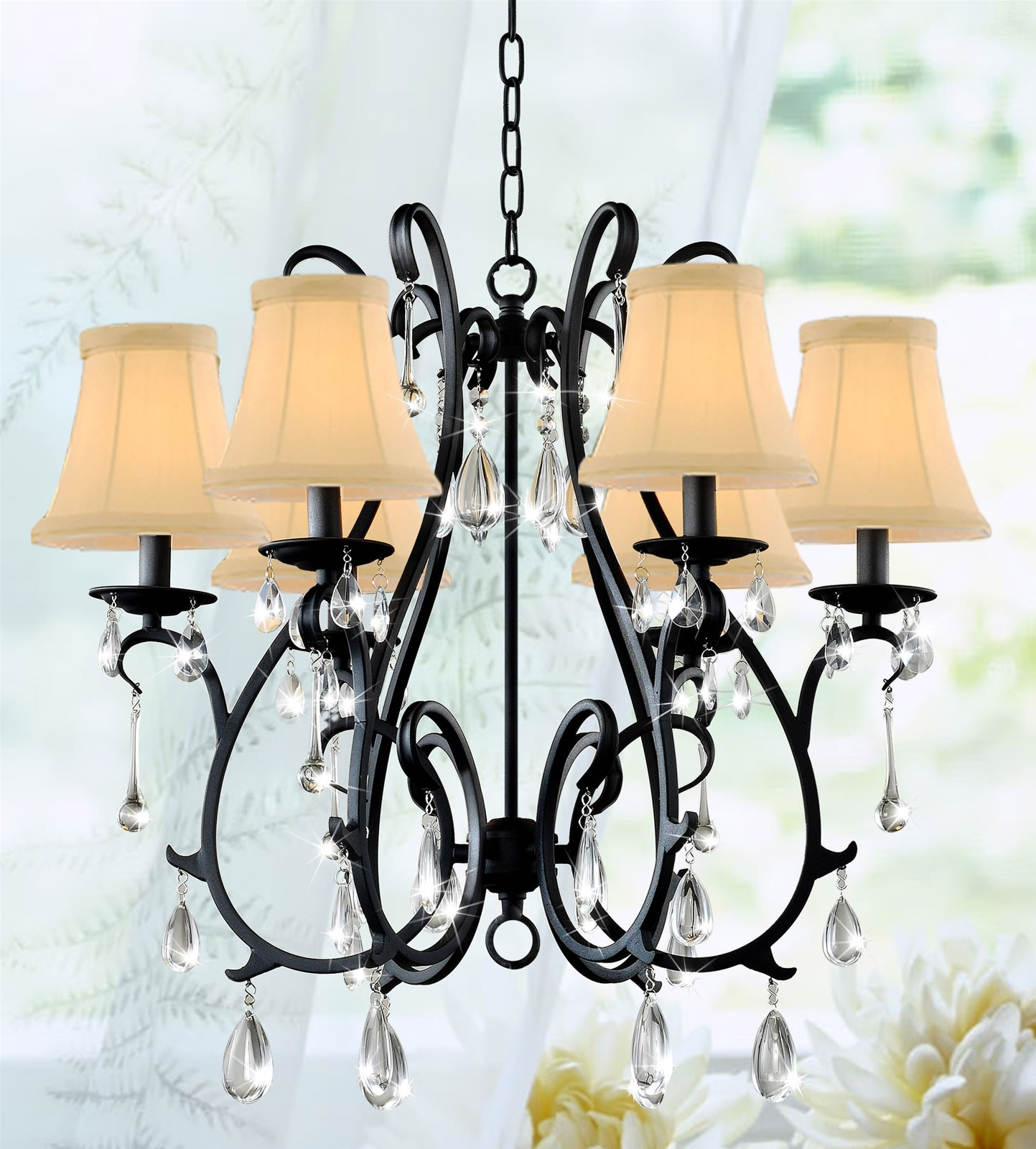 Mackenzie Traditional 6 Light Topped Shade S Shape Curved Iron Crystal Chandelier 24