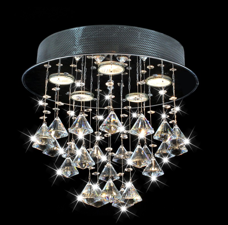 Frances 5 Light Black Chrome Round Ceiling Triangle Crystal Chandelier 14 H X