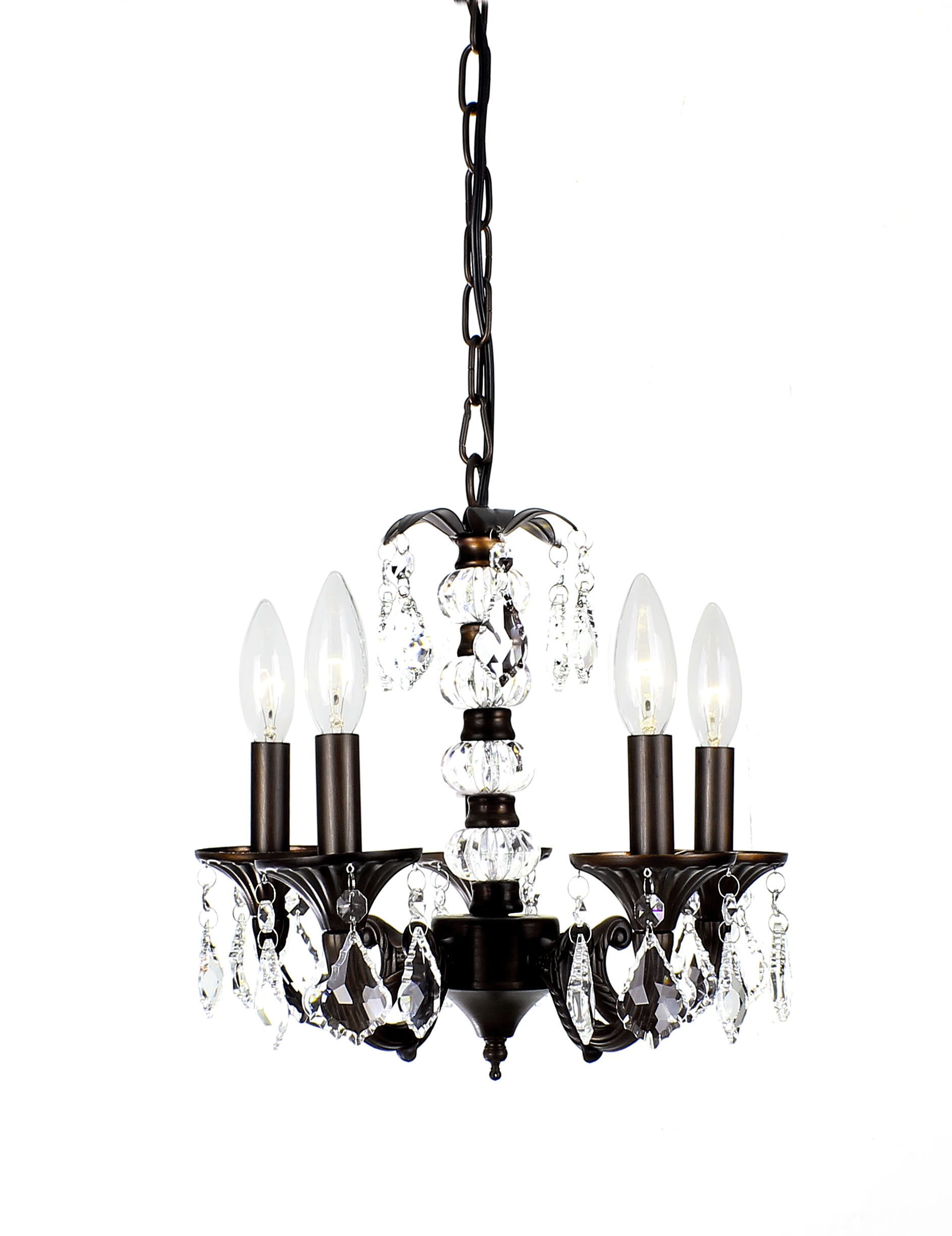 Alexandra 5 Light Antique Bronze Crystal Chandelier With And Metal Base 13 Wx13