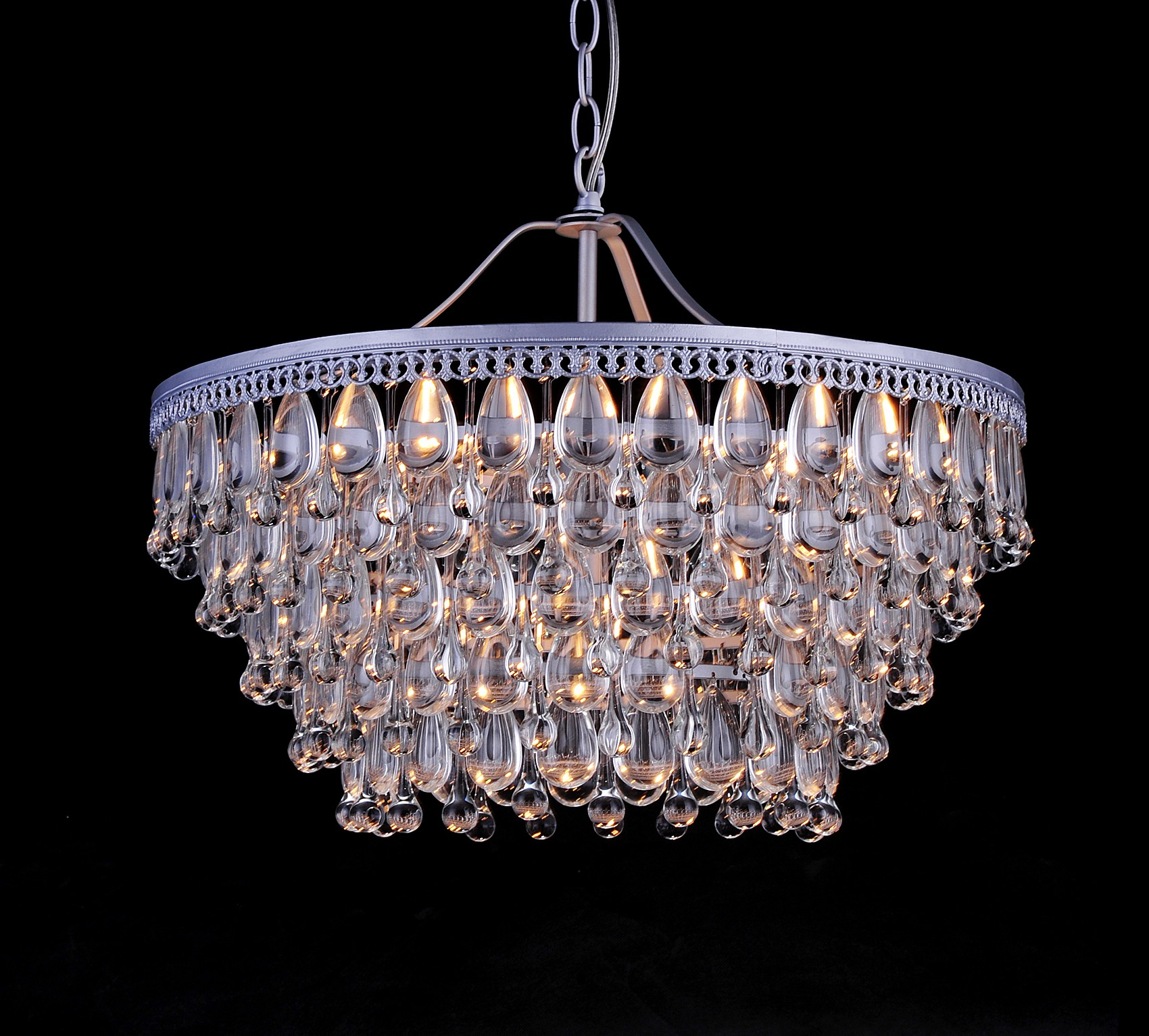 Kassandra Light Sparkle Crystal Teardrop Bead Matte Silver - Chandelier crystals teardrop