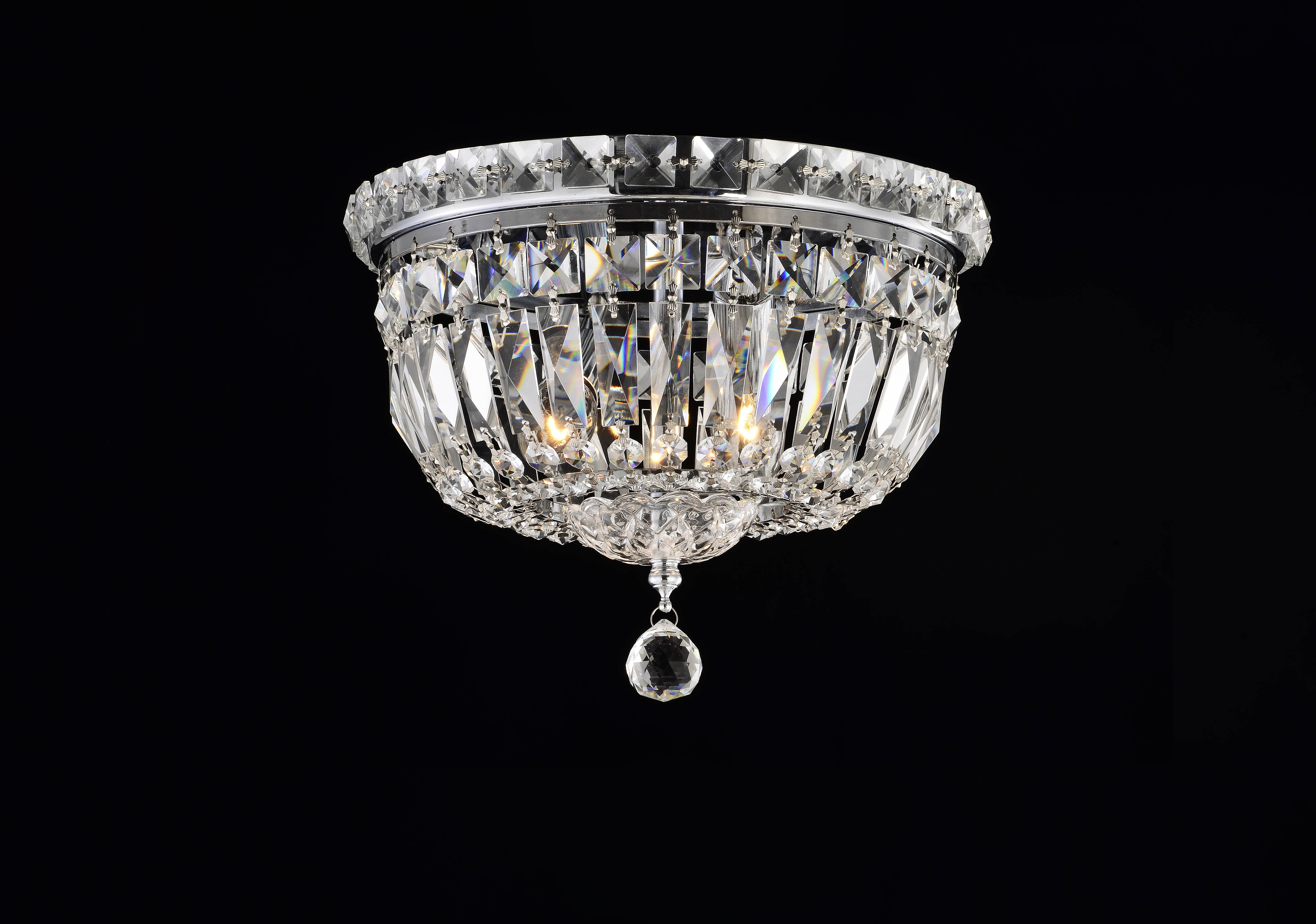 Dianna 2 Light Chrome And Glass Crystal Ceiling Flushmount Chandelier 10 5 Wx 8