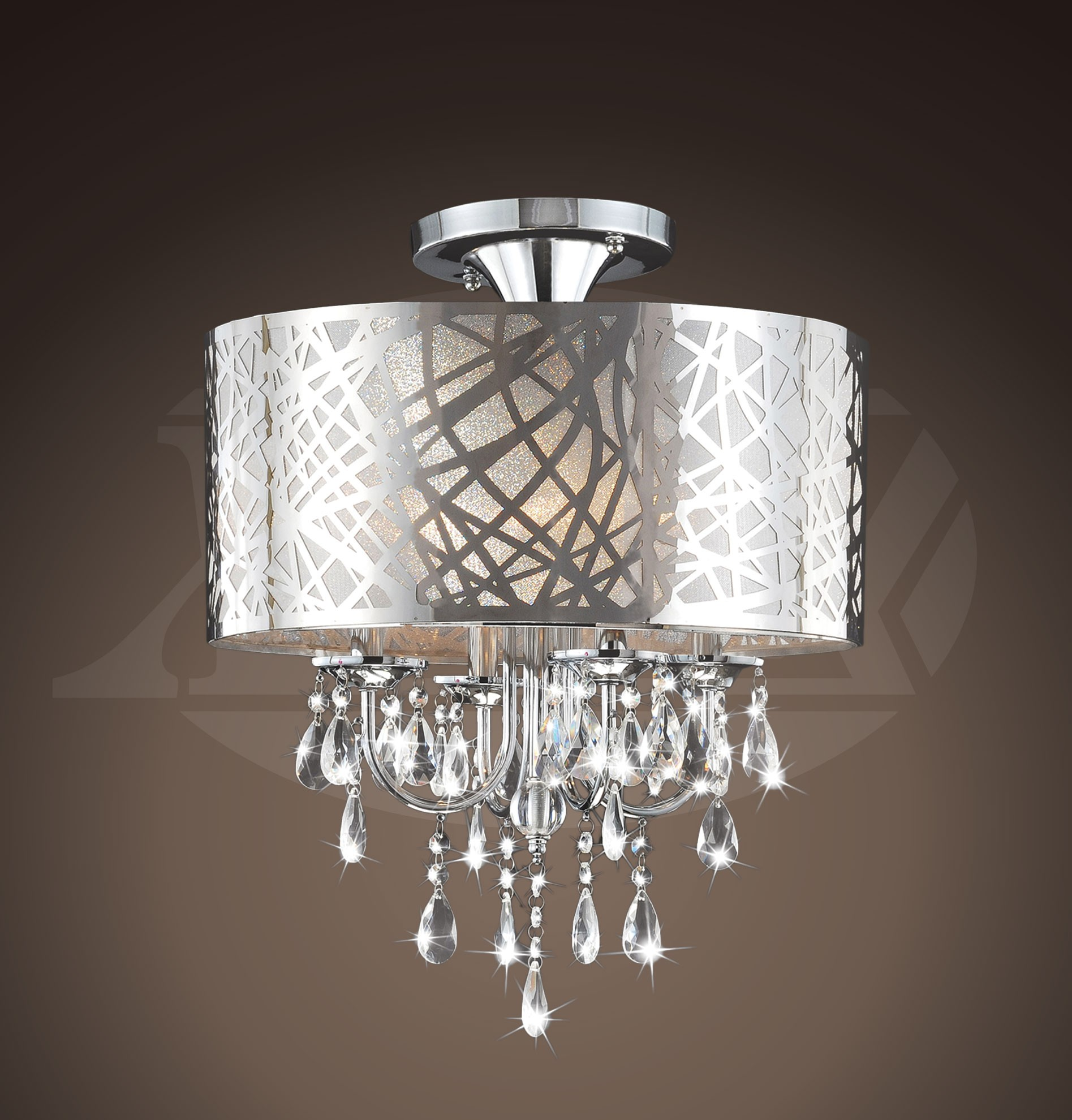 searchlight glass led chrome light crystal rods flush products polished mela mount ceiling