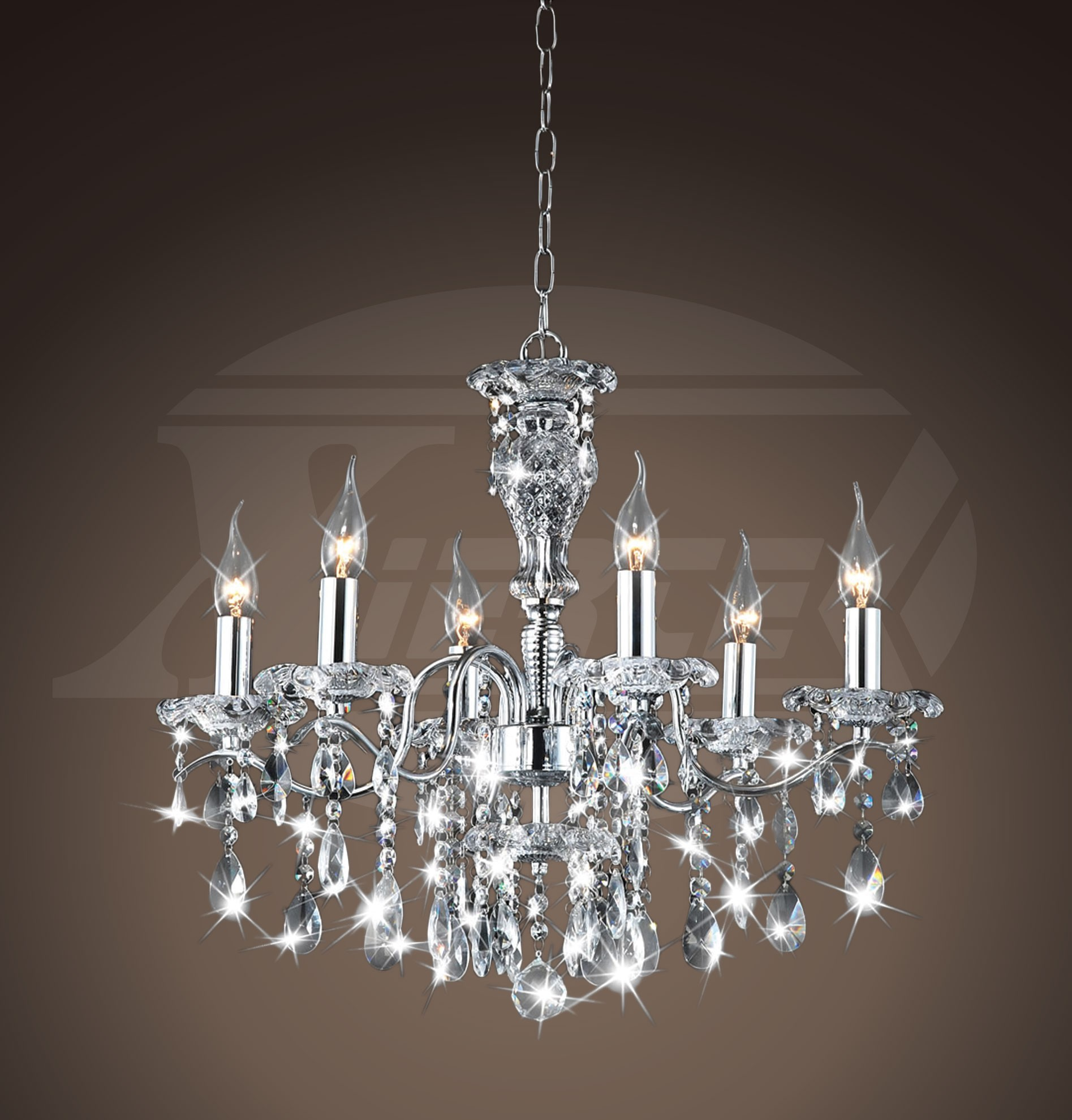 Maddison shine 6 light gleaming chrome crystal chandelier for Crystal fall