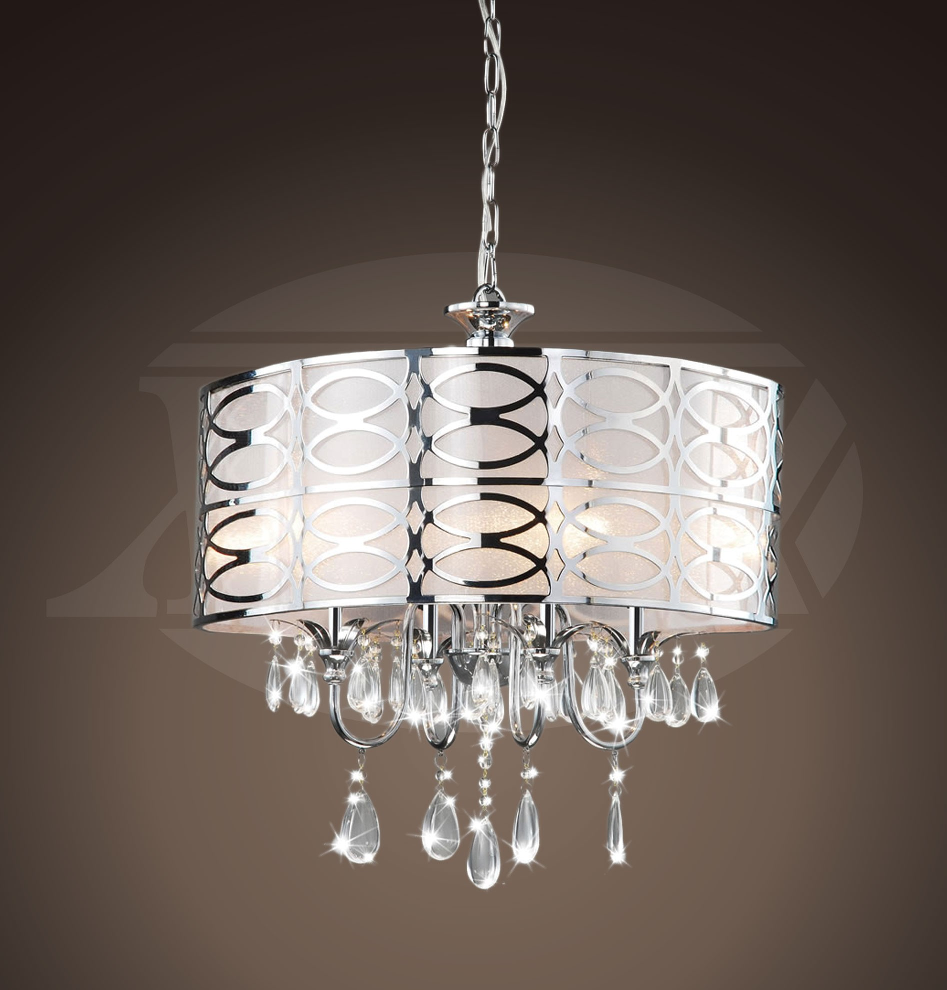 Vivienne Stylish 4 Light Chrome Frosted Glass Crystal Chandelier 18 5 H X 17
