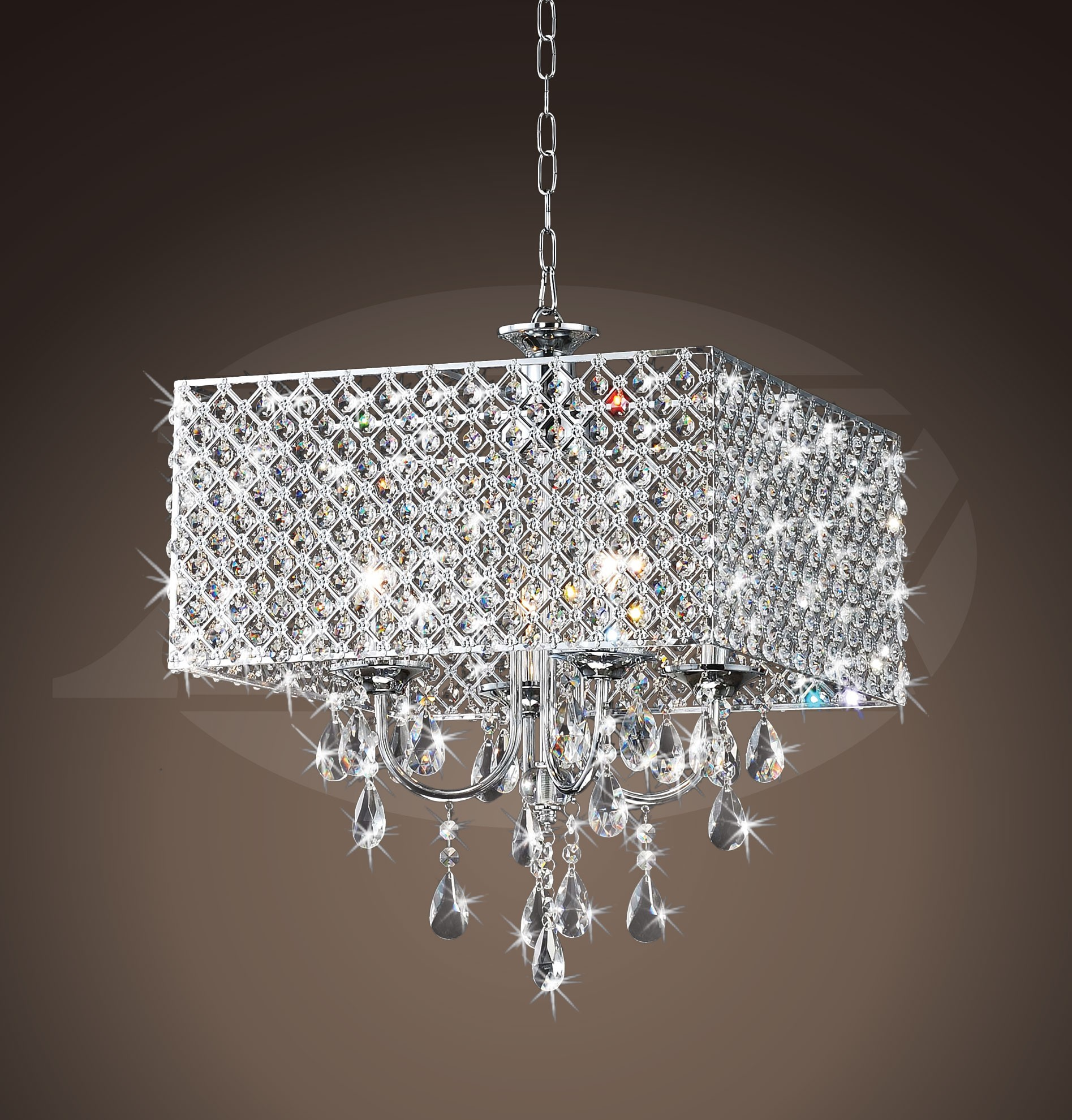 Rosemary elegant crystal chrome 4 light square chandelier 16h x rosemary elegant crystal chrome 4 light square chandelier 16h x 17 arubaitofo Choice Image