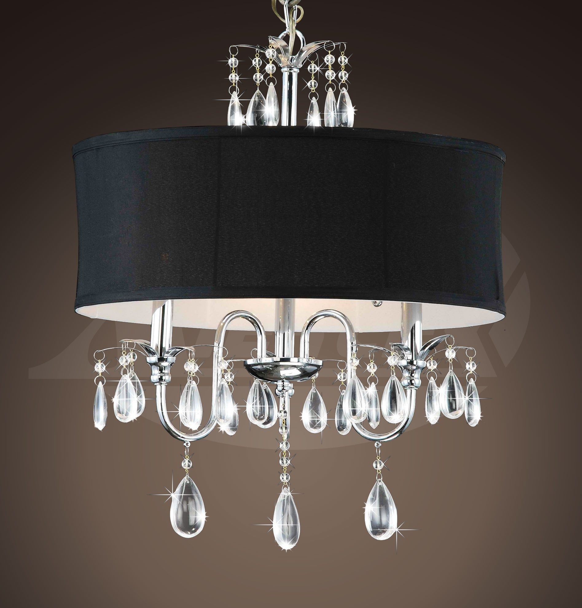 Sienna chrome 3 light black shade crystal chandelier 18w x 22 h sienna chrome 3 light black shade crystal chandelier 18w x 22 aloadofball Images