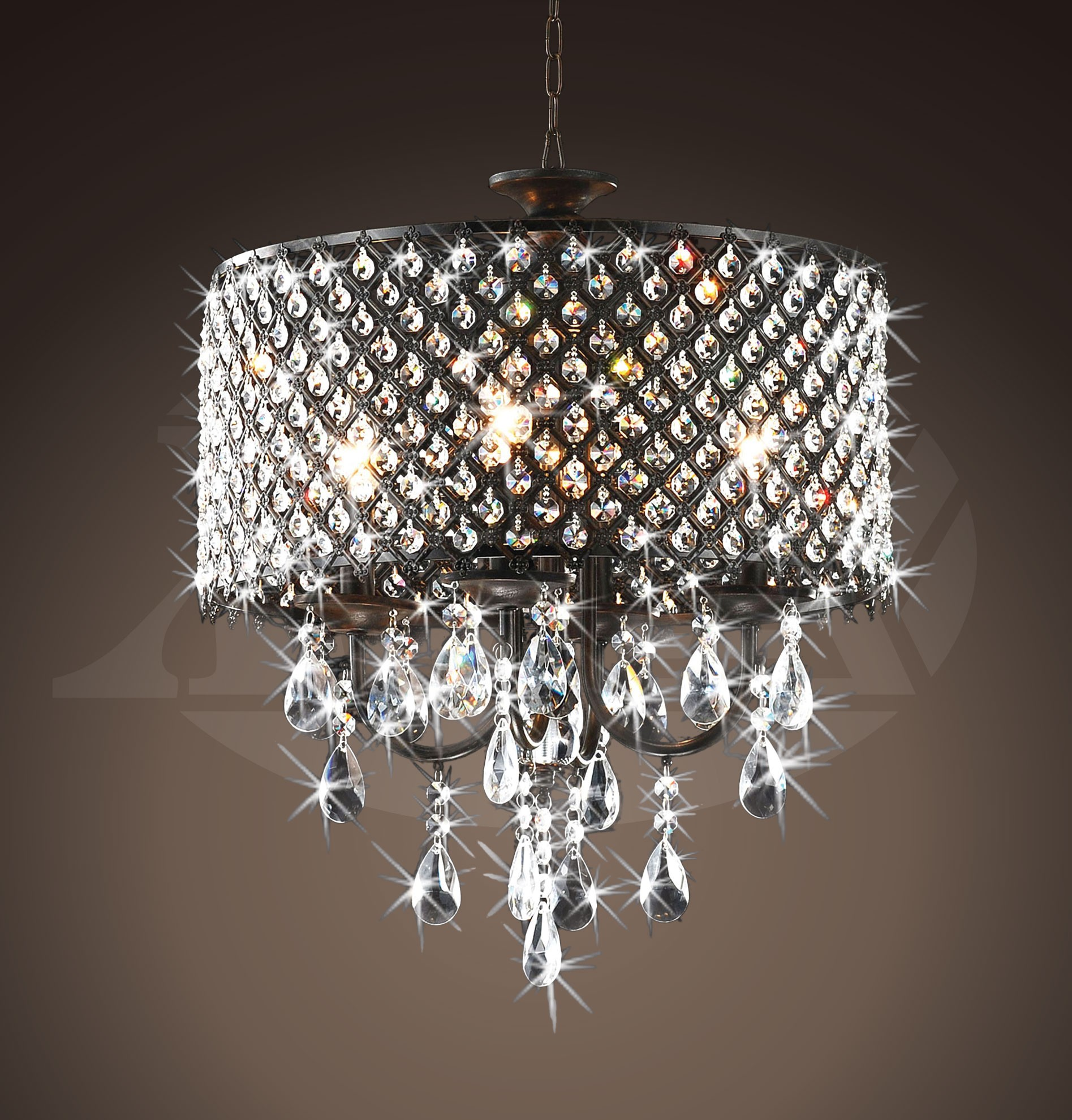 Rachelle 4 light Round Antique Bronze Brass Crystal Chandelier