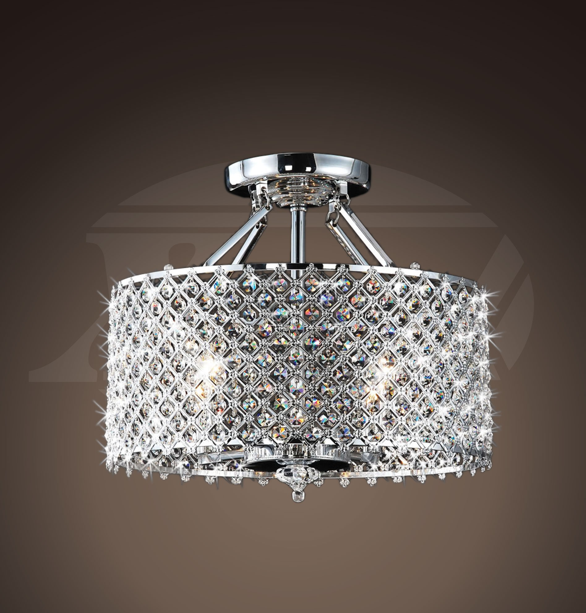 helina chrome and crystal light round ceiling flush mount chandelier(hx. helina chrome and crystal light round ceiling flush mount
