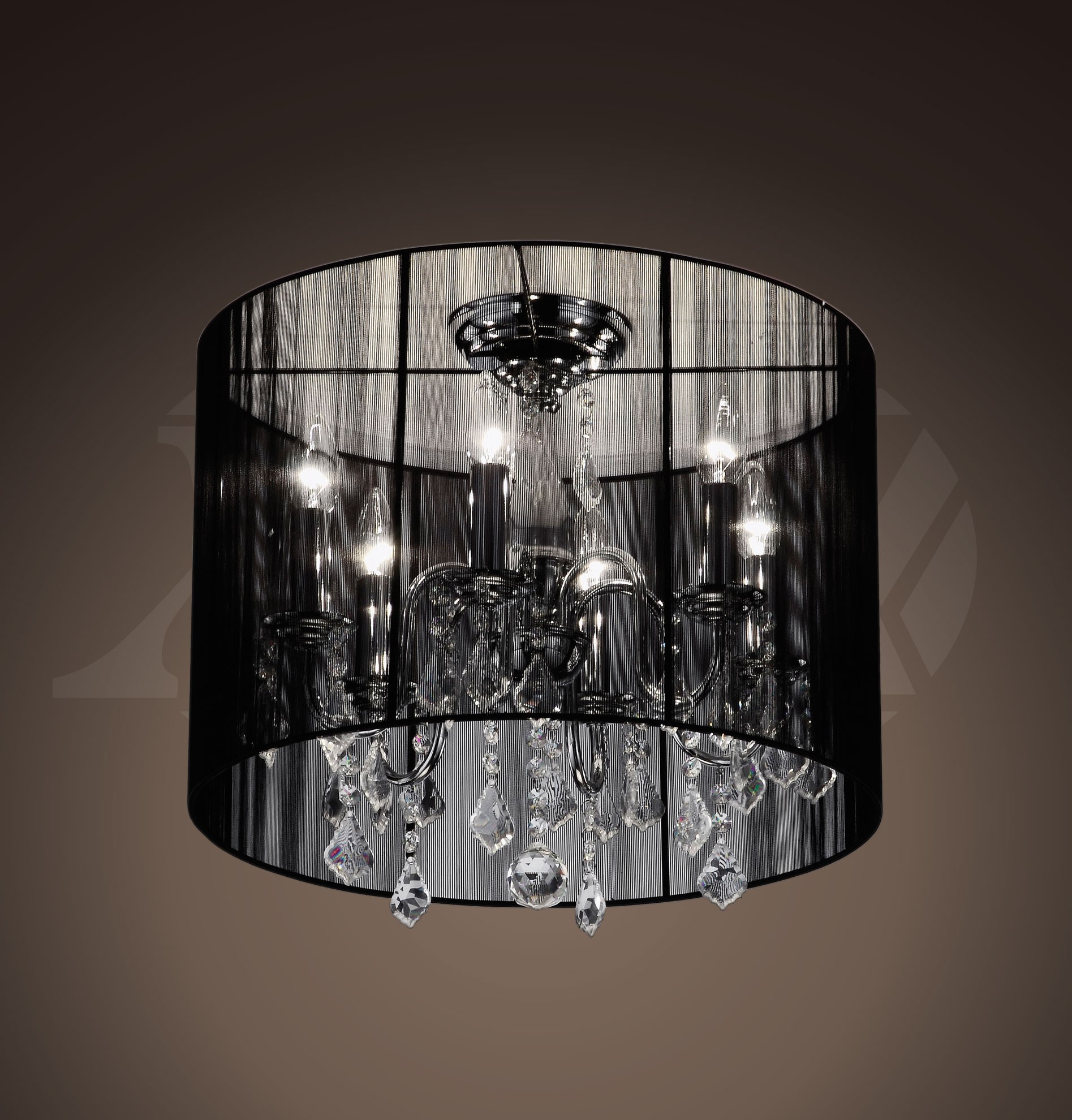Alondra 6 Light Black Crystal Shade Chrome Ceiling Mount Chandelier 9 H X