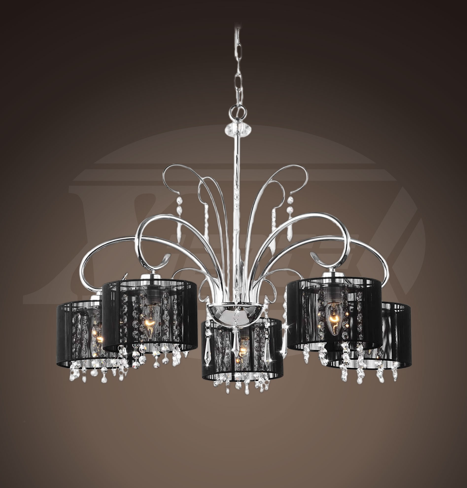 Aegean black shade 5 light chrome chandelier 255wx64h aegean black shade 5 light chrome chandelier 255wx64h xtkl661hlj295x mozeypictures