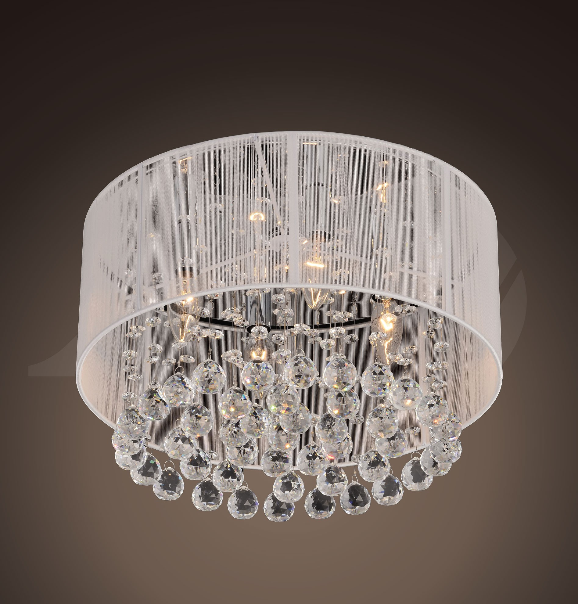 Jenna 4 Light Chrome And White Crystal Ceiling Mount Chandelier 9 H X