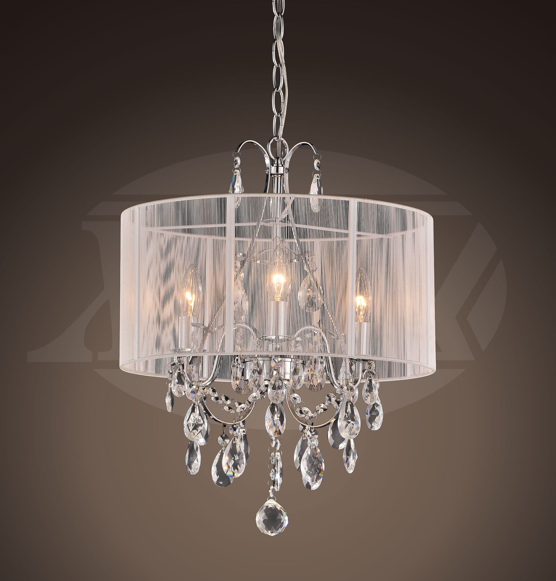 Gina White Cotton Thread And Chrome Maury Crystal Chandelier 16 W X 21