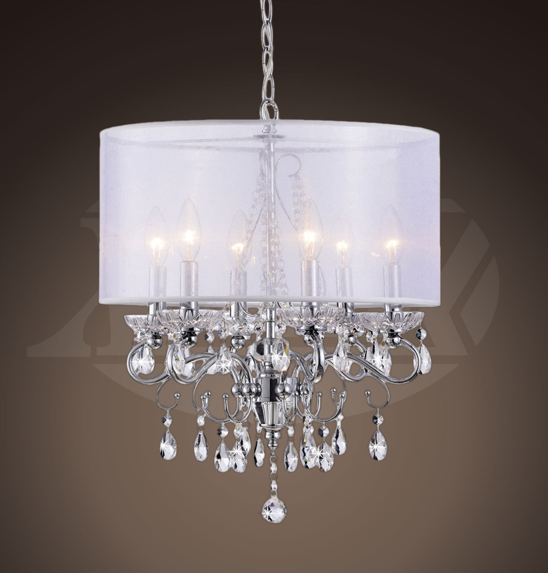 Sophia crystal chandelier with white fabric shade 17 w x 22 h sophia crystal chandelier with white fabric shade 17 w x 22 h arubaitofo Gallery