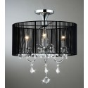 "Aubree 3 lights Black and Chrome Semi Flush Mount Crystal Chandelier (18.5""W x 9""H) XTKB381BCL167X"