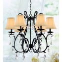 """Mackenzie Traditional 6 Light topped shade S-shape Curved Iron Crystal Chandelier (24""""Wx20""""H) XTKB7096X"""