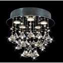 "Frances  5 light  Black Chrome Round Ceiling Triangle Crystal  Chandelier (14""H x 14""W) XTKB729RC337X"