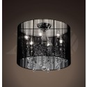 "Alondra 6-light Black Crystal Shade Chrome Ceiling mount Chandelier (9""H x 18""W) XTKL369BCL155X"