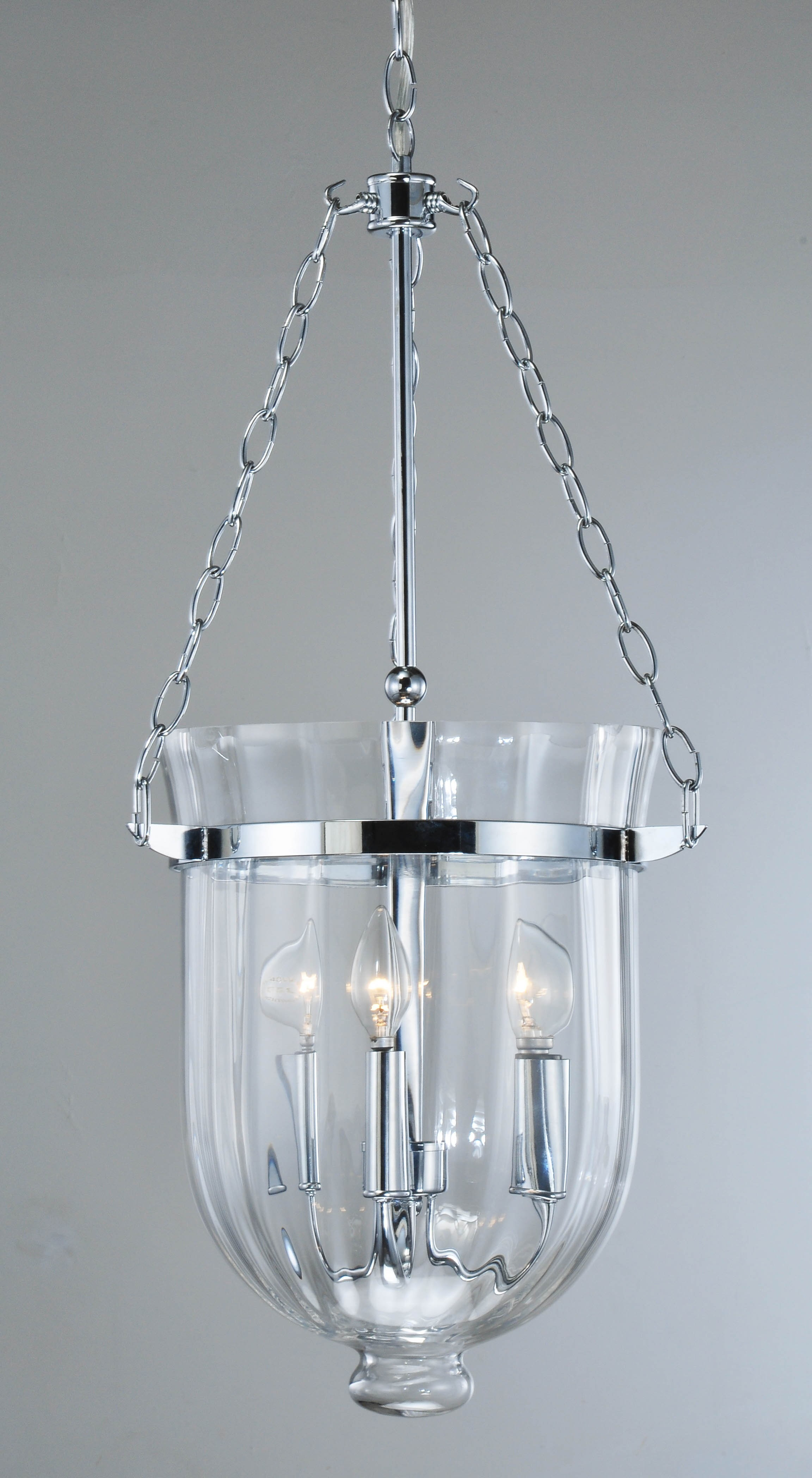 Jocelyn 3 Lights Chrome Finish Ribbed Glass Lantern Chandelier 11 5 Wx15 H Kph 1c