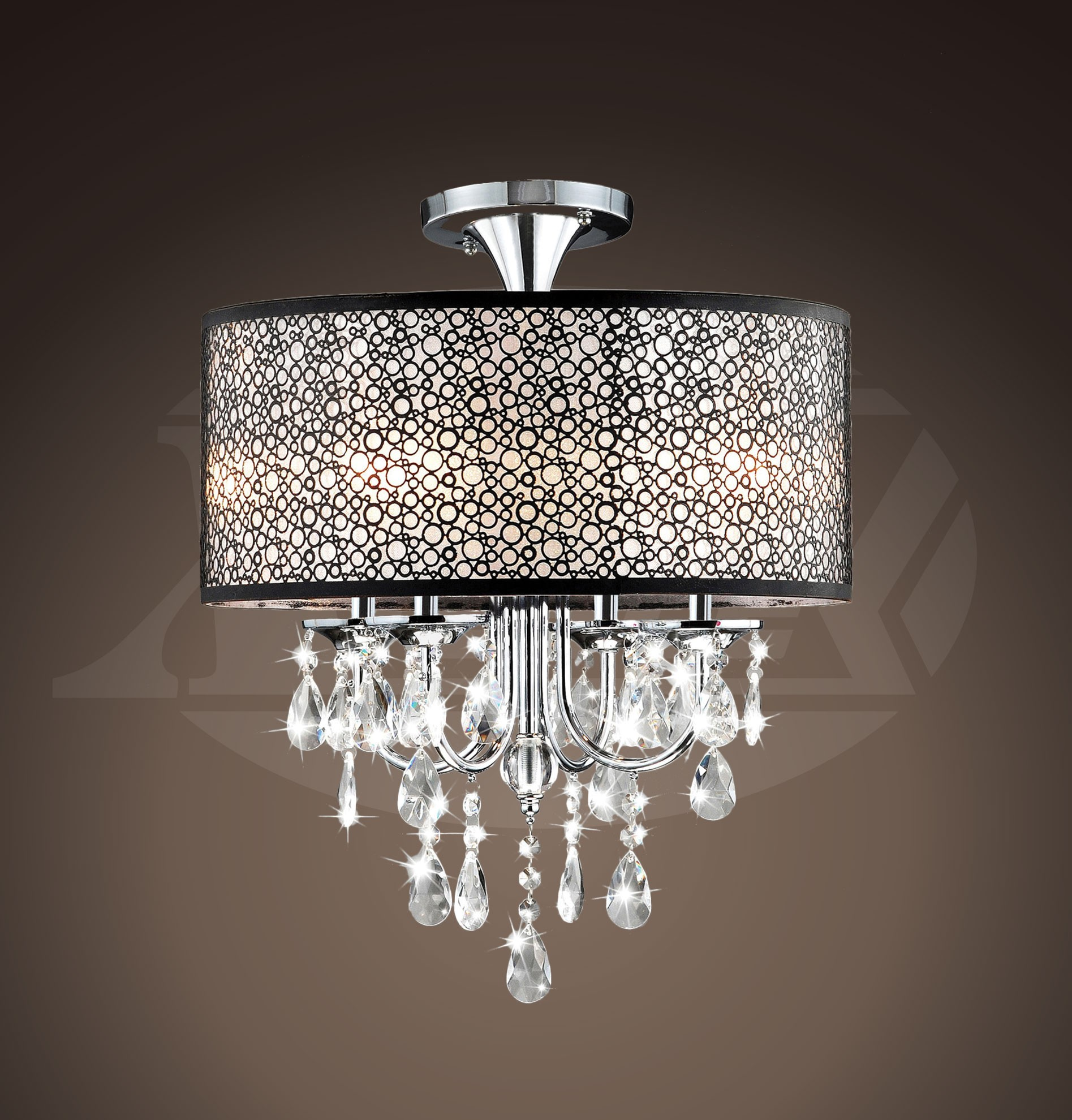Brooklynn Black Bubble Shade Crystal And Chrome Flushmount Chandelier 17 W X 7 5 H Xtkb727dw336x
